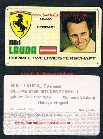 1975 Ferrari Niki Lauda rookie trade card made in Austria!